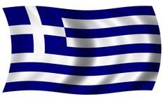 Greece flag in wave Stock Illustration
