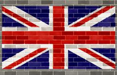 flag of great britain on large rough gray brickswall - stock illustration
