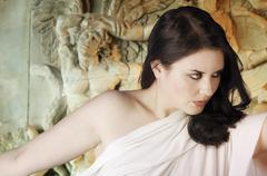 Musa greek mythology. female with white veil, reliefs and sculptures in the b Stock Photos