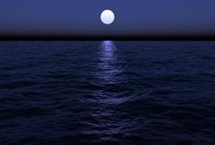 Moonlit Ocean Stock Photos