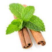 Cinnamon sticks and mint leaves Stock Photos