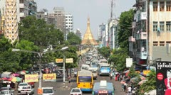 Street in Yangon, Myanmar Stock Footage