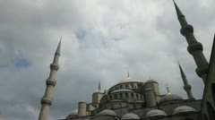 The dome and minarets of the Blue Mosque in Istanbul Stock Footage