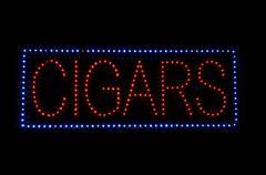 cigar neon sign - stock illustration