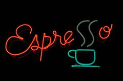 Espresso neon sign Stock Photos