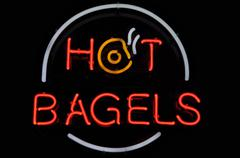 Hot bagels neon sign Stock Photos