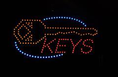 keys neon light sign - stock illustration