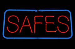 Safes neon sign Stock Photos