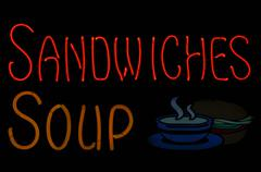 Sandwiches and soup neon sign Stock Photos