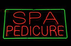 spa and pericure red and green neon sign - stock photo