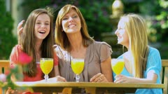 Mother Daughters Outside Garden Stock Footage
