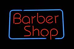 Barber shop neon sign Stock Photos