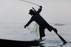Fisherman on Inle Lake Stock Photos