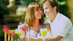 Caucasian Couple Time Together Sunshine - stock footage