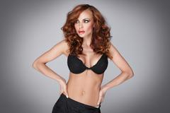 sensuality and attractive young woman - stock photo