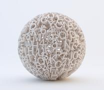 Stock Illustration of random letters and numbers forming a sphere