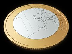One euro coin close-up Stock Illustration