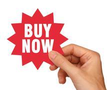 Buy now sticker Stock Photos