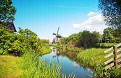 typical dutch windmill - stock photo