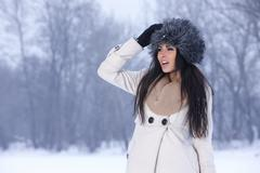 beauty on snowy outdoors - stock photo