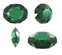 emerald diamond cut isolated with clipping path - stock photo