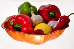 Bamboo bowl full of vegetables Stock Photos