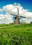 Old dutch windmill Stock Photos