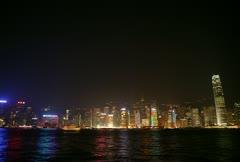 Hong Kong cityscape at night Stock Footage
