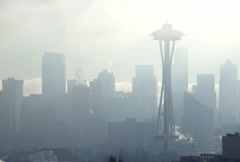 Smoggy Seattle cityscape Stock Footage