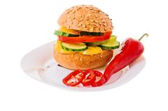 Hamburger with vegetables Stock Photos