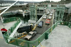 A ferryboat dock loading vehicles Stock Footage