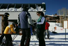 A busy ski lift Stock Footage