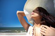 Beautiful woman at seaside Stock Photos