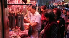 Wet Market Butcher, Hong Kong 2 - stock footage