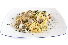 spaghetti with clams - stock photo