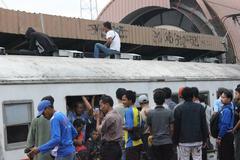 Economic train in Jakarta - stock photo