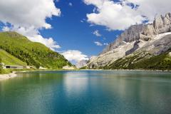 fedaia lake - stock photo