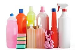 plastic detergent bottles - stock photo