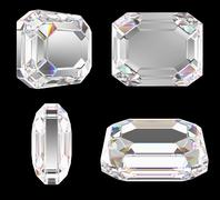 diamond with classic emerald cut isolated with clipping path - stock photo