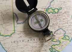 Stock Photo of compass and map of south africa