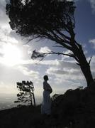 Stock Photo of pregnant woman in silhouette