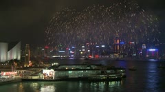 Victoria Harbour Fireworks, Hong Kong 8 - stock footage