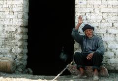 old man in peru - stock photo