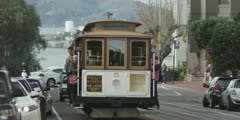 San Francisco Trolley Cable Car Passing People Wave Slow Motion Red One MX 3k Stock Footage