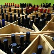 Shelf with wine Stock Photos