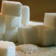 sugar cubes on table - stock photo