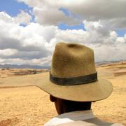 Farmer with hat in the andes, peru Stock Photos