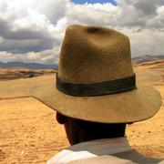 farmes with hat in the andes, peru - stock photo