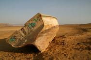 Old fisherboat in the desert, paracas, peru Stock Photos