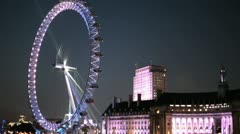 London Eye by night 01 Stock Footage